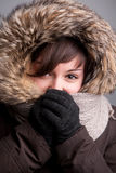 Girl with winter clothes Stock Photography