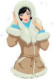 Girl in winter clothes. Vector illustration of a elegant  lady in winter clothes Stock Image