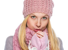 Girl in winter clothes warming hands Royalty Free Stock Images