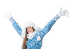 Girl in winter clothes on a white background Royalty Free Stock Image