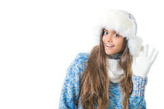 Girl in winter clothes on a white background Royalty Free Stock Photography
