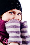 Girl in winter clothing. Portrait of a beautiful young girl in winter clothing Royalty Free Stock Image