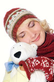 Girl in winter clothing Stock Photos