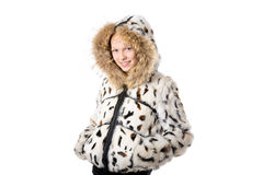 Girl in winter coat with hood Royalty Free Stock Images