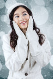 Girl with winter coat looking copyspace Royalty Free Stock Photo