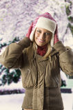 Girl with winter dress Royalty Free Stock Photo