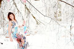 Girl in winter dress Royalty Free Stock Image