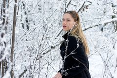 Girl in winter forest. Girl in black on white snow background Royalty Free Stock Photography