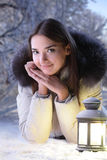 Girl in winter forest royalty free stock images