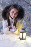 Girl in winter forest royalty free stock photos