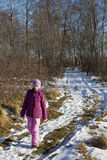 Girl in  winter forest Royalty Free Stock Photography