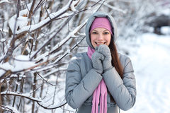 Girl in a winter forest. Stock Photography