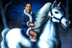 Girl in the winter forest on a horse Stock Images