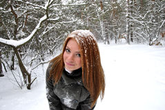 Girl in a winter forrest Stock Photo