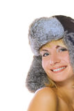 Girl in winter fur-cap Stock Photo