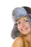 Girl in winter fur-cap Stock Photo