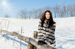 Girl in winter fur coat on the nature Stock Photography