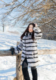 Girl in winter fur coat on the nature Stock Image