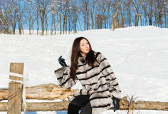 Girl in winter fur coat on the nature Royalty Free Stock Photos