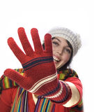 Girl with  winter gloves Stock Photos
