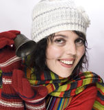 Girl with  winter gloves and bell Stock Photography