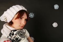 Girl in winter hat. Scarf Stock Images