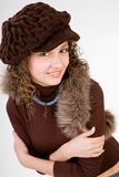 Girl in winter hat royalty free stock photos