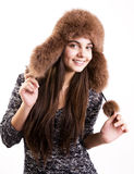 Girl in winter hat Stock Photography