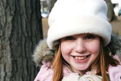 Girl in winter hat Royalty Free Stock Images