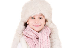 Girl in winter hat Stock Photos