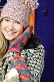 Girl in winter hat and mittens Royalty Free Stock Photo