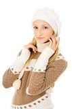 Girl in winter hat and scarf Royalty Free Stock Images