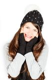 Girl in winter hat and scarf Royalty Free Stock Photos