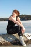 Girl at the winter lake Royalty Free Stock Photo