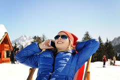 Girl in winter mountains Stock Photography