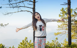 Girl in the winter mountains Royalty Free Stock Photography
