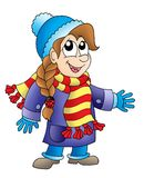 Girl in winter outfit. Illustration of girl in winter outfit Royalty Free Stock Images