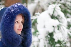 Girl in winter park stock image