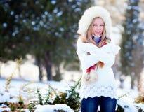 Girl in winter park Stock Photos