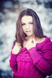 Girl in Winter Park Royalty Free Stock Images