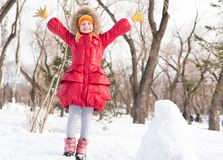 Girl in a winter park Royalty Free Stock Photos