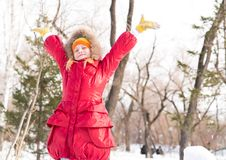 Girl in a winter park Royalty Free Stock Images