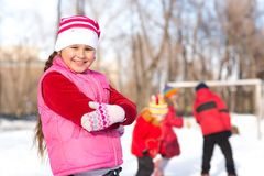 Girl in a winter park Stock Photography