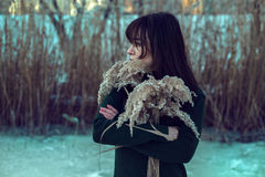 Girl in winter park. Beautiful girl in winter park Royalty Free Stock Images