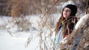 Girl in winter park stock video