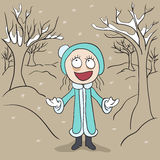 Girl in winter park rejoices first snow. Illustration in vector format Royalty Free Stock Images