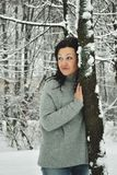 Girl in winter Park. Stock Photos