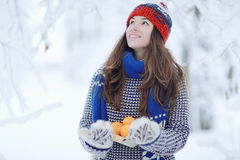 Girl at winter park Royalty Free Stock Images