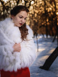 The girl in the winter park. Girl in a white natural fur coat in a winter park Royalty Free Stock Image