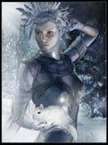 Girl in a winter scenery stock illustration